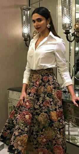 Deepika Padukone white shirt and printed floral skirt - SeenIt