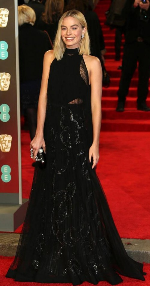 Yay or Nay? Margot Robbie in this black gown at BAFTA Awards 2018 - SeenIt