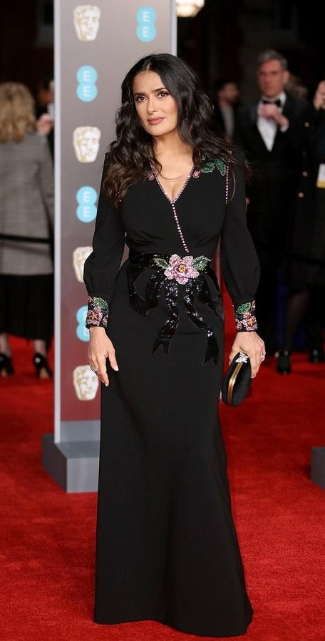 Yay or Nay? Salma Hayek in this black floral gown at BAFTA Awards 2018 - SeenIt
