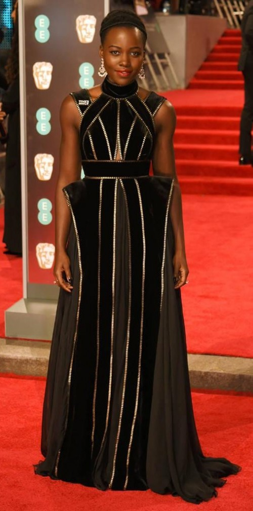 Yay or Nay? Lupita Nyongo in this black striped gown at BAFTA Awards 2018 - SeenIt