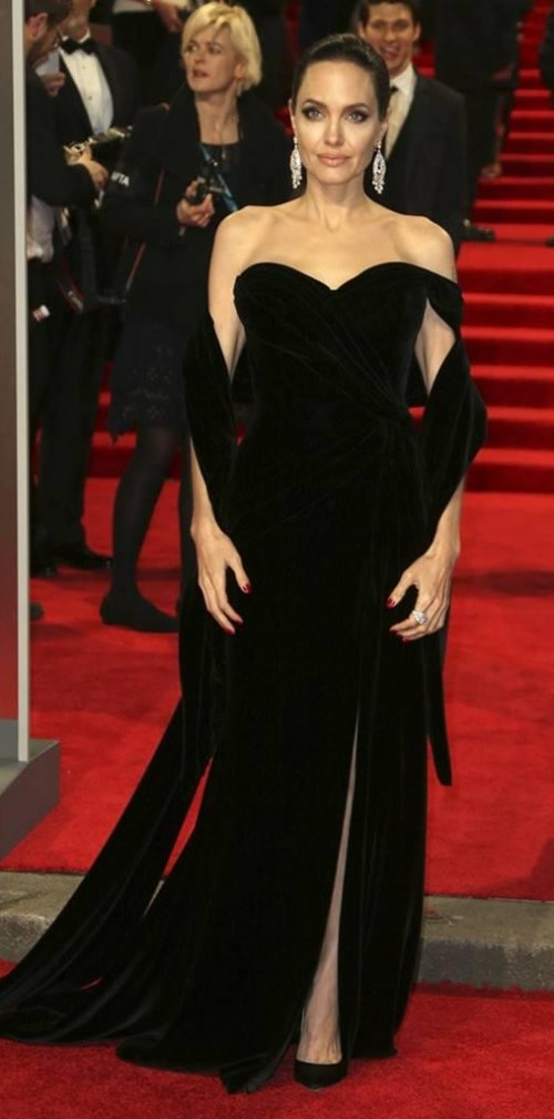 Yay or Nay? Angelina Jolie in this black front slit gown at BAFTA Awards 2018 - SeenIt