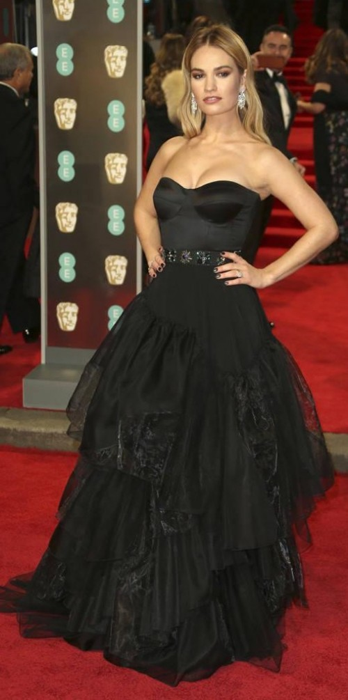 Yay or Nay? Lily James in this black tube draped gown at BAFTA Awards 2018 - SeenIt