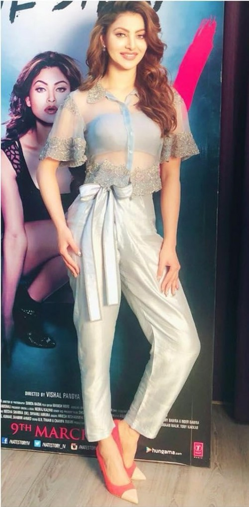 Yay or Nay? Urvashi Rautela in this blue sheer embroidered crop top and pants - SeenIt
