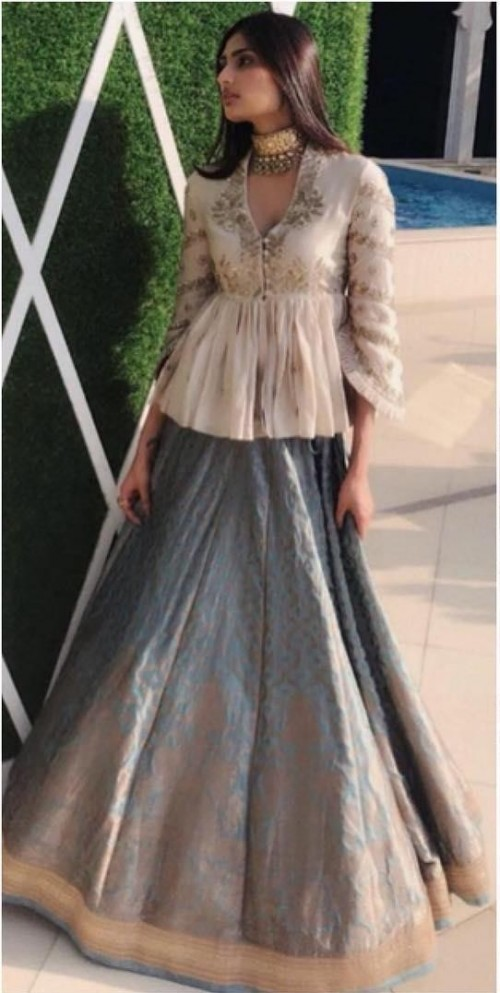 Yay or Nay? Athiya Shetty in this white embroidered peplum top and grey lehenga - SeenIt