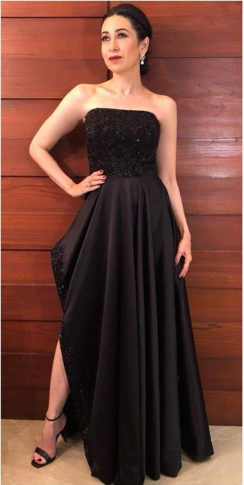 Yay or Nay? Karisma Kapoor in this black embroidered tube hi-low gown - SeenIt