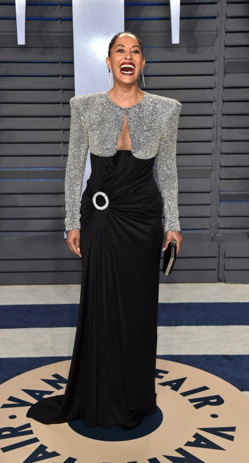 06024ef89b Tracee Ellis Ross in this silver shimmer and black gown at Vanity
