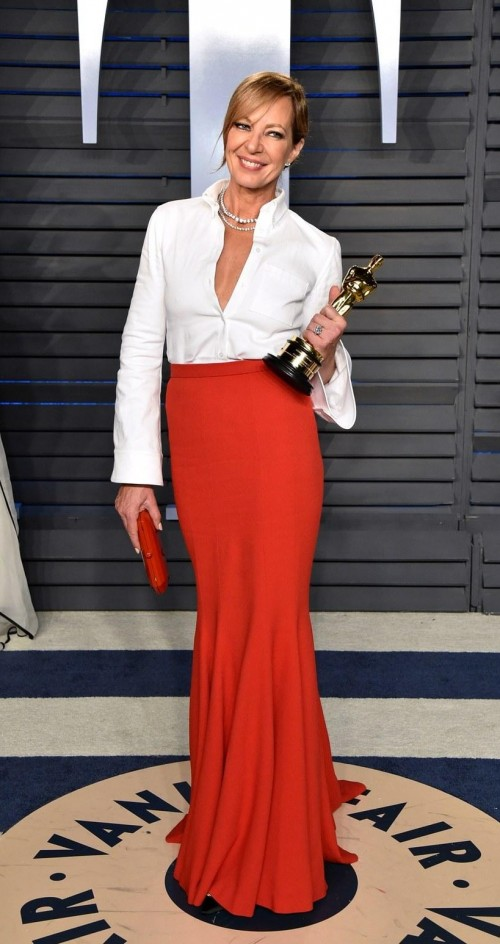 4abc964c43 Yay or Nay  Allison Janney attends the Vanity fair in this white shirt and  red