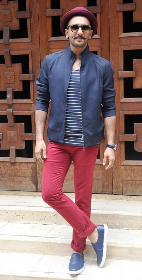 Ranveer's style is so suave!! Loving the navy blue slip-on shoes!! Where will I find them? - SeenIt