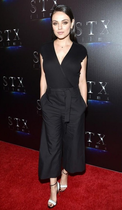 Similar black wrap top and culottes as Mila Kunis is wearing - SeenIt