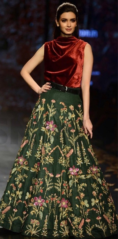 2273e91b56 Yay or Nay  Diana Penty in this maroon velvet top and green floral maxi-