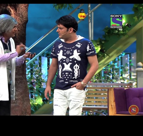Kapil Sharma graphic tshirt and white trousers - SeenIt