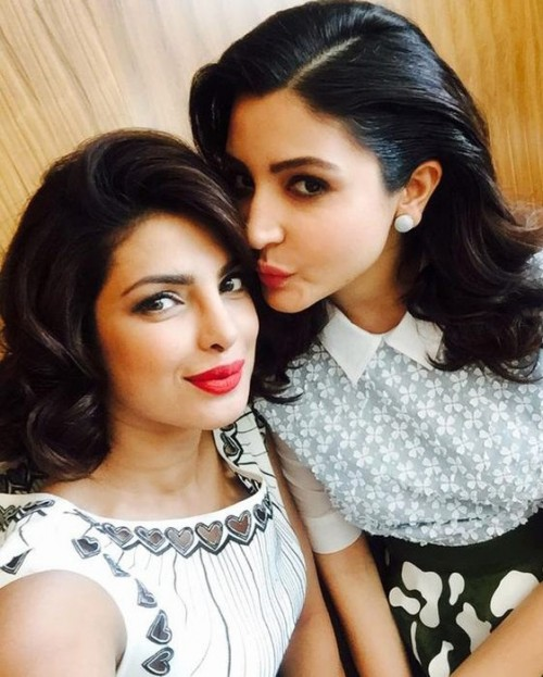 Girl bonding on Dil Dhadakne Do sets!! Pls find me Priyanka's lip color...it's so gorgeous! - SeenIt