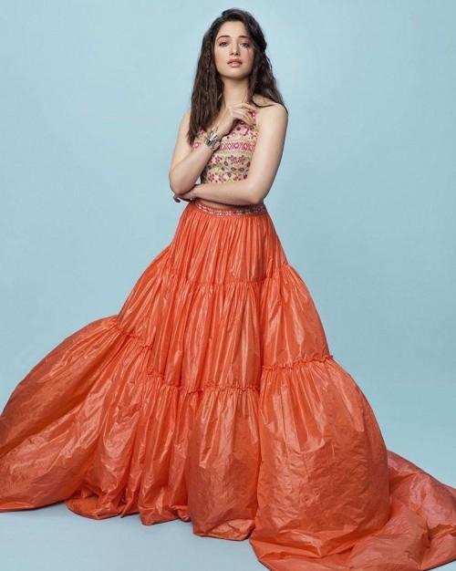c87573b025 Similar green embroidered crop top and orange maxiskirt of Tamannah Bhatia  - SeenIt