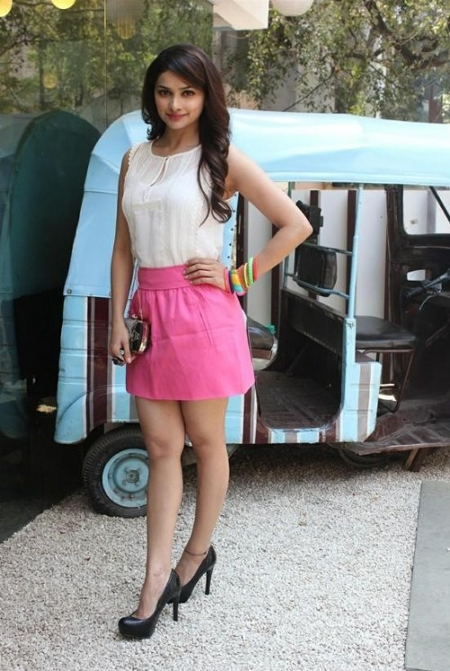 Prachi Desai in a white top and pink skirt - SeenIt