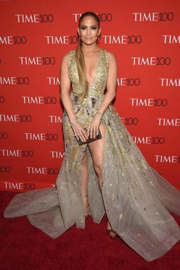 Yay or Nay? Jennifer Lopez walks the red carpet of Time100 Gala 2018 in this beige gold front slit gown - SeenIt