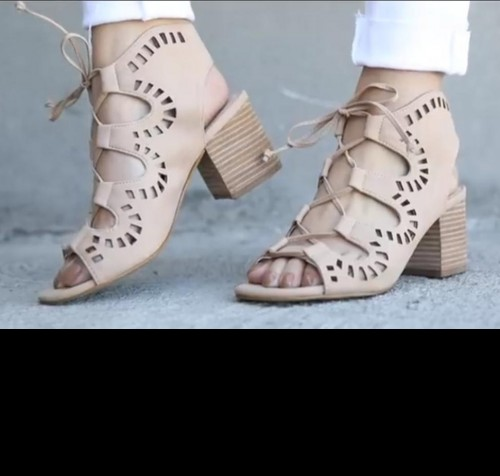Looking for these lace up block heels - SeenIt