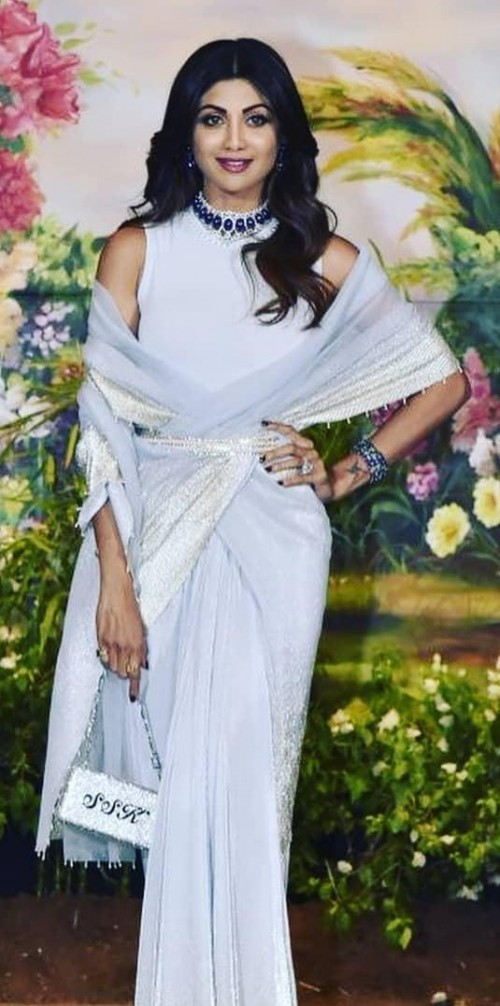 Yay or Nay? Shilpa Shetty attends Sonam Kapoor's Wedding in this baby-blue saree - SeenIt