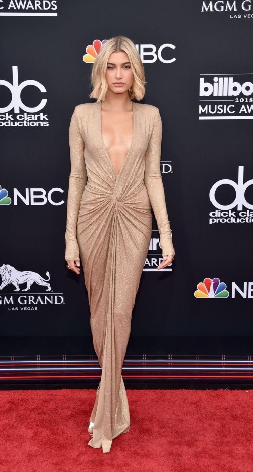 Yay or Nay? Hailey Baldwin in this gold dress at Billboards Music Awards 2108 - SeenIt