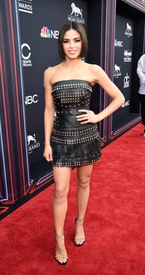 80dd66154f Jenna Dewan Tatum in this black leather studded fringe dress at Billboards