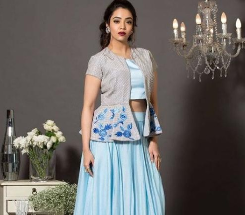 I am looking for a blue skirt and top with a jacket. From where can i buy this? - SeenIt