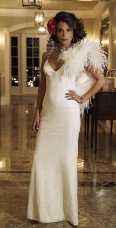 cristal's white spaghetti neck gown please - SeenIt