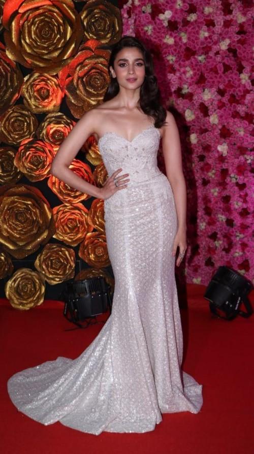 Yay or Nay? Alia Bhatt wearing a silver strapless gown at the Lux golden rose awards last night - SeenIt