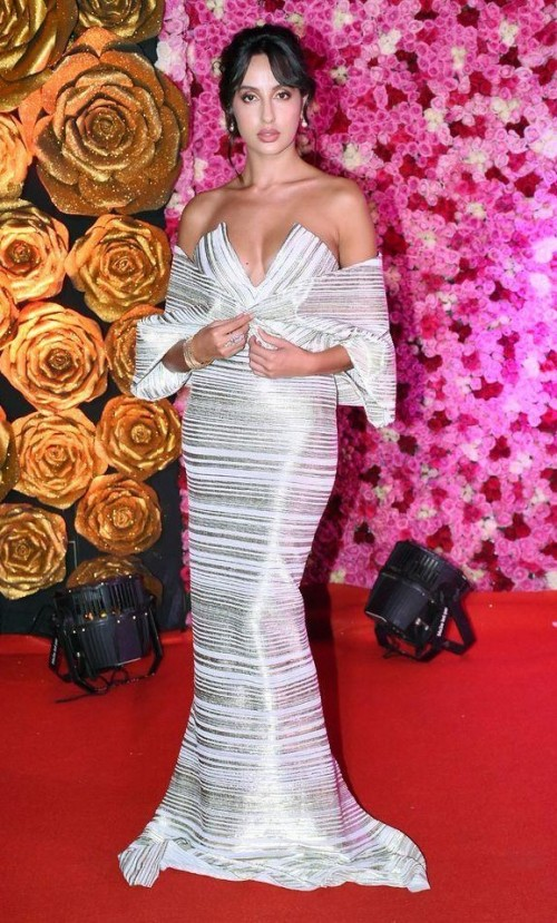 Yay or Nay? Nora Fatehi wearing an off shoulder gown at the Lux golden rose awards last night - SeenIt