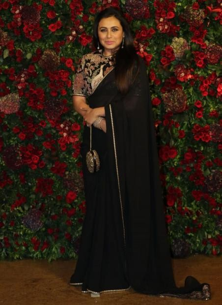 Yay or Nay? Rani Mukherjee wearing a black saree with embroidered blouse at the Deepveer reception in Mumbai - SeenIt