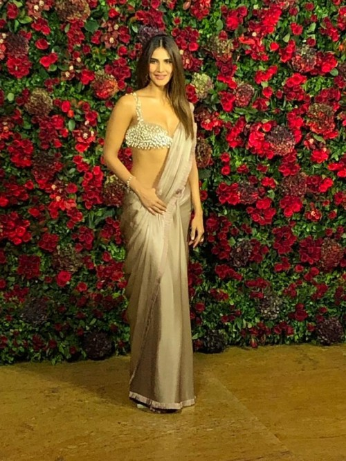 Yay or Nay? Vaani Kapoor wearing a golden satin saree at the Deepveer reception in Mumbai - SeenIt