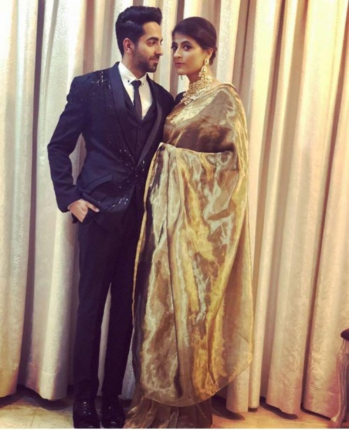 Yay or Nay? Ayushman Khurana wearing a black embroidered suit at the Deepveer reception in Mumbai - SeenIt