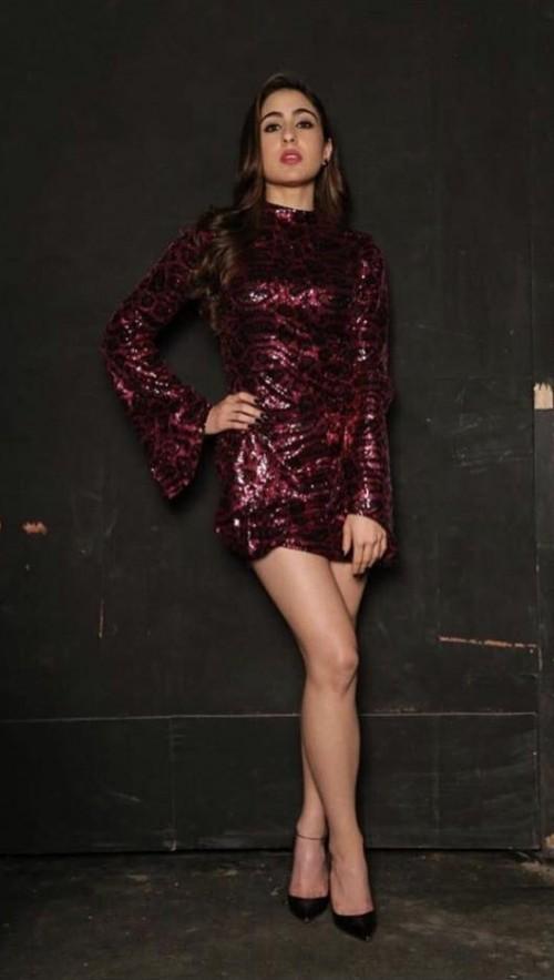 3e423fa2348 Sara Ali Khan wearing a shimmer short dress at the promotions of