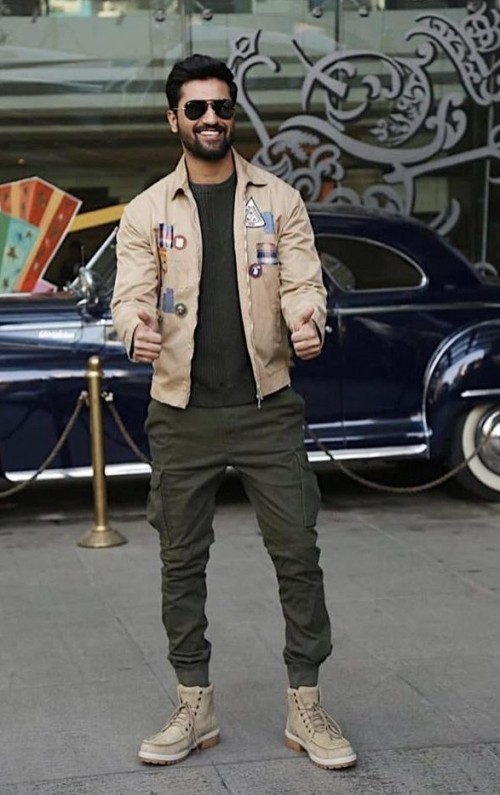 yay Or Nay? Vicky Kaushal wearing a beige patch Dsquared jacket and cargo pants at the promotions of - SeenIt