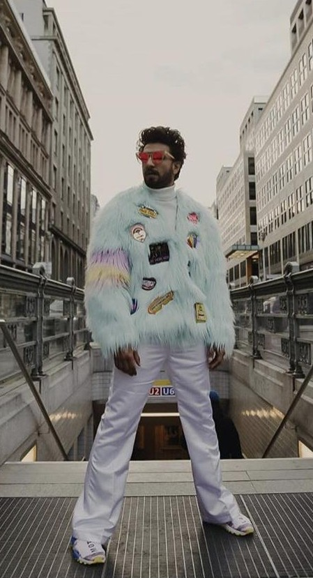 Yay or Nay? Ranveer Singh wearing a sky blue fur patch jacket at the promotions of Gullyboy in Berlin - SeenIt