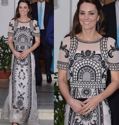 The Duchess wearing a Temperley London design while attending a Garden party #RoyalvisitIndia - SeenIt