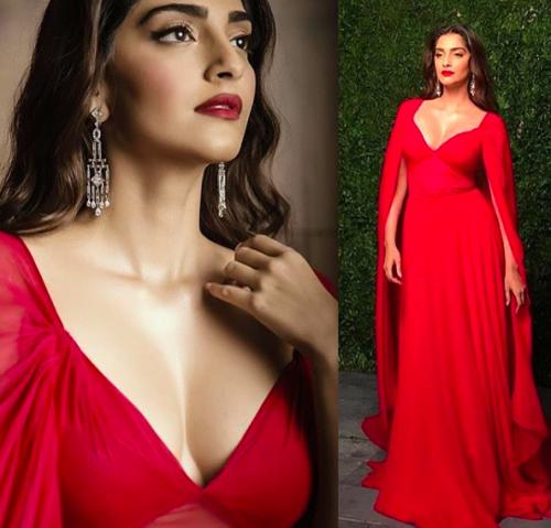Sonam Kapoor was burning hot in the red Naeem Khan gown - SeenIt