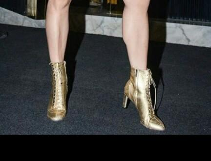 these golden ankle length boots - SeenIt