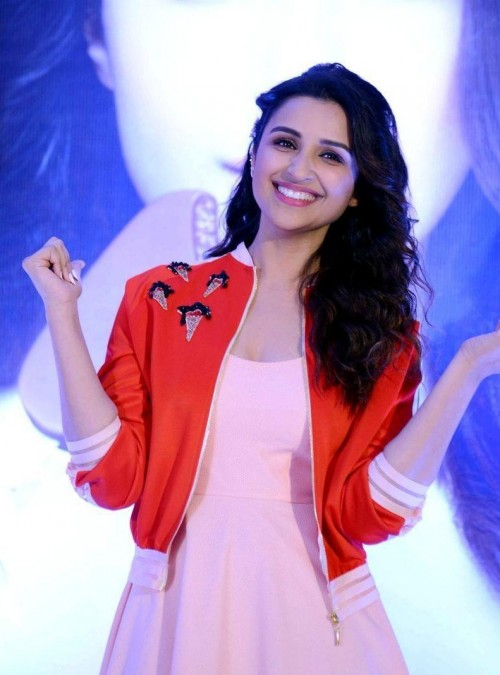 this red colred ice cream patched jacket which Parineeti Chopra is wearing - SeenIt