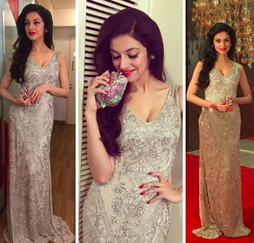Divya looked exquisite in the Theia Couture outfit. - SeenIt
