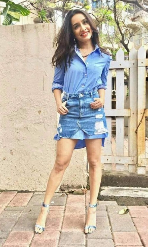Looking for the blue shirt and blue denim skirt which Shraddha Kapoor is wearing - SeenIt