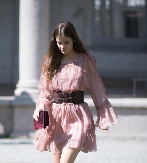 similar pastel dress with bell sleeve and no ruffle at bottom plus the brown-maroon belt which Barbara Palvin is wearing - SeenIt