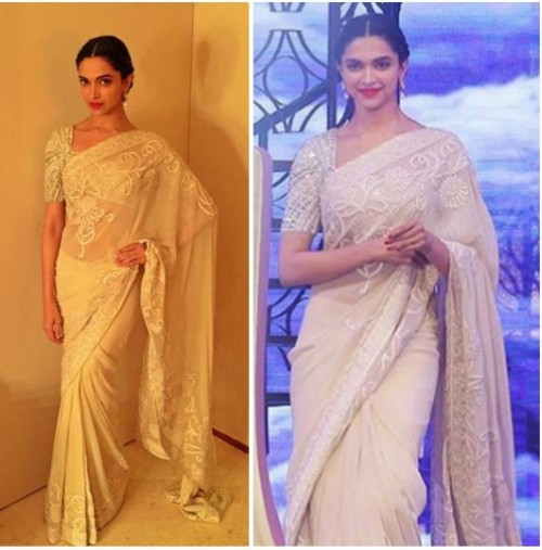 I love how she can effortlessly carry off anything! want a similar net saree like deepika is wearing - SeenIt