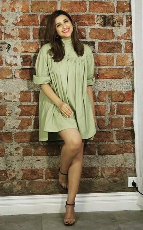 Yay or Nay? Parineeti Chopra wearing a light green dress at the promotions of Jabariyajodi - SeenIt