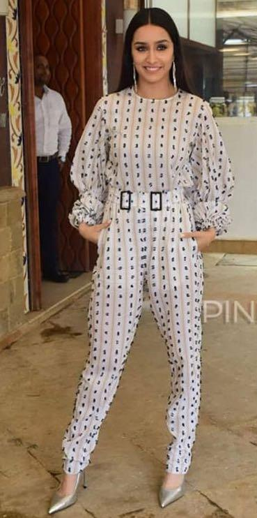 Yay or nay? Sharadha Kapoor wearing a printed jumpsuit at the Saaho promotions - SeenIt