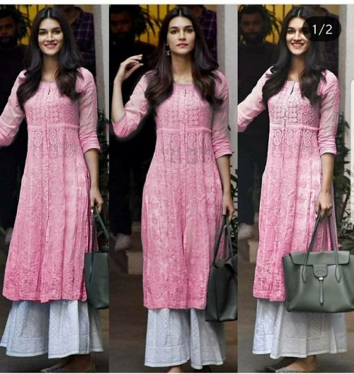 same lucknowi kurti and Palazzo (chicken) or any good lucknowi kurti or fabric website or app will do too - SeenIt