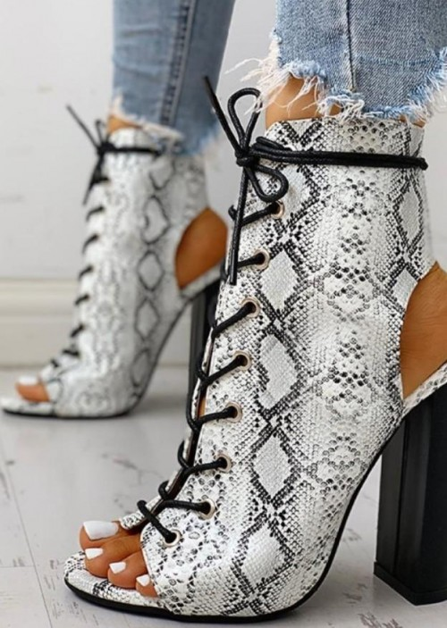 Snake print peep-toe boots with block heels - SeenIt
