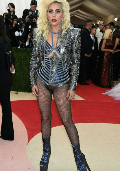 Lady Gaga went to the Met Gala with no pants wearing Versace. - SeenIt
