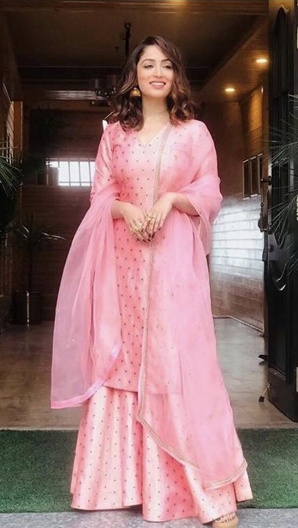 Yay or nay? Yami Gautam wearing a pink Raw mango outfit at the promotions of Bala - SeenIt