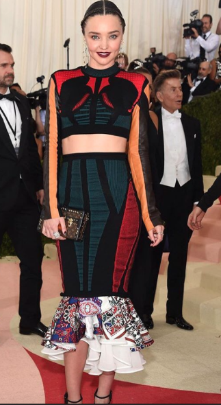 Miranda Kerr in a Louis Vuitton two-piece at the Met Gala this year . - SeenIt