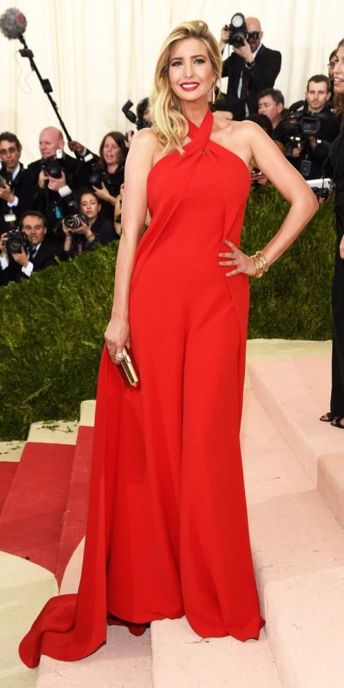 Ivanka Trump turns met gala red hot in a Ralph Lauren jumpsuit. - SeenIt
