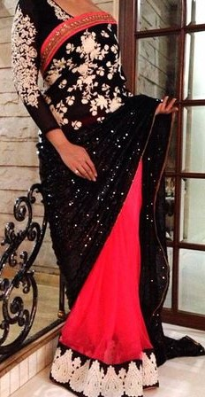 Want a saree with black and pink combination like this - SeenIt